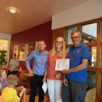 RJL IFA presenting prize for Favourite Scarecrow to Joanna Van Den Wildenberg