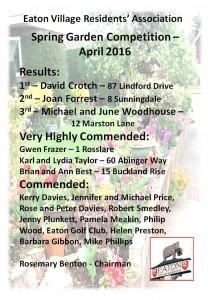 2016 EVRA Spring Garden Certificate draft Winner list