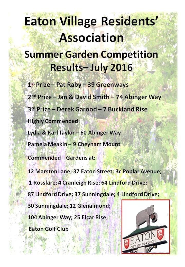2016 EVRA Summer Garden Certificate summary