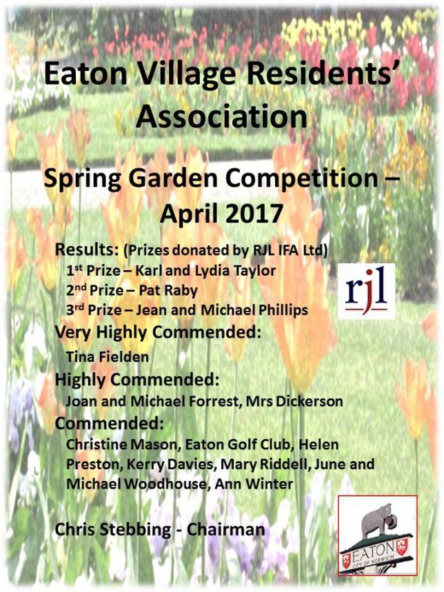2017 EVRA Spring Garden Certificate
