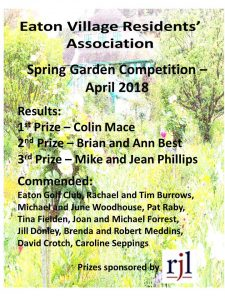 2018 EVRA Spring Garden Certificate List of winners