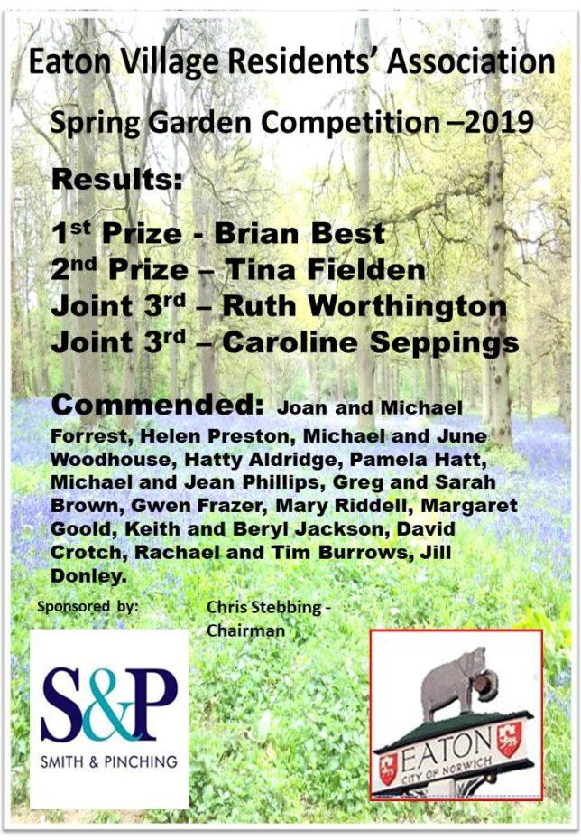2019 EVRA Spring Garden Certificate list of winners