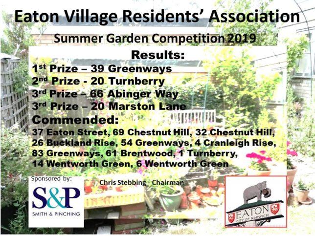 2019 EVRA Summer Garden Results poster